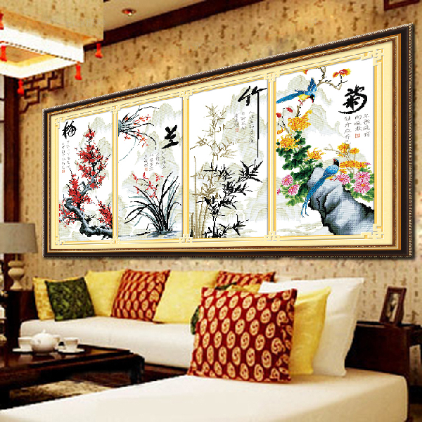 100%精准十字绣客厅大画最新款竖版梅兰竹菊