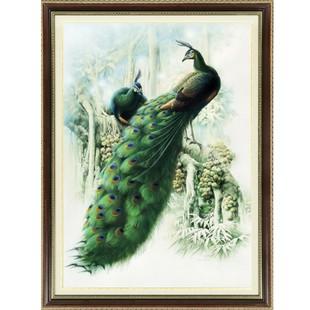 精准印花十字绣新款客厅 世界名画孔雀 十字绣大幅新款