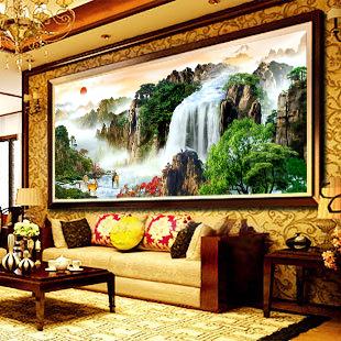 精準印花十字繡大幅最新款客廳大畫旭日東升十字秀餐廳山水畫